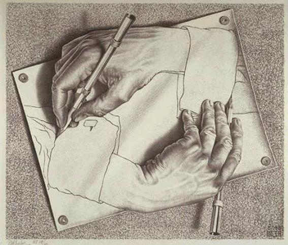 Cultura Escher drawing hands