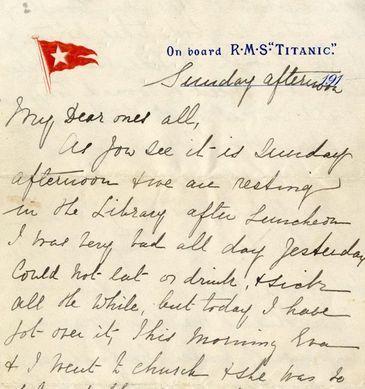 carta que sobrevivió al Titanic