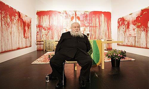 """Pk vor Ausstellungseroeffnung """"Hermann Nitsch Das Fruehe Werk, Die Essenz der Duerckheim Collection"""""""