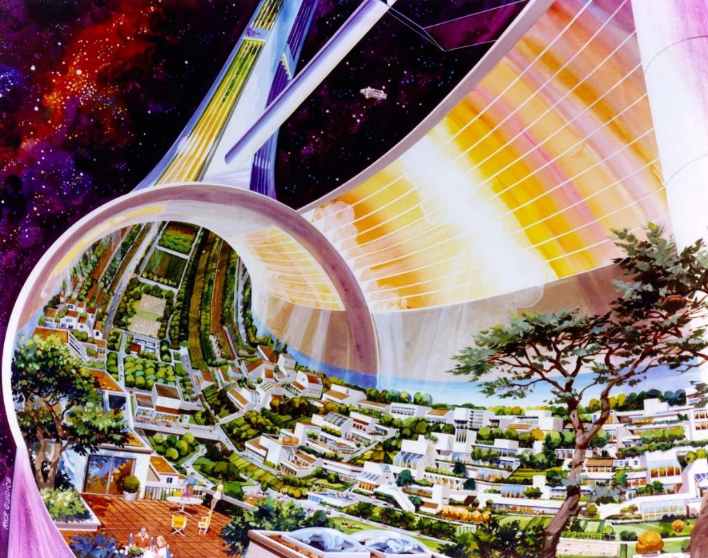 Toroidal Colony. Cutaway view, exposing the interior. Art work: Rick Guidice. Credit: NASA Ames Research Center. NASA ID AC75-1086-1