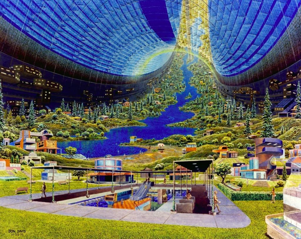 Torus Interior Interior view. Art work: Don Davis. Credit: NASA Ames Research Center. NASA ID AC75-2621