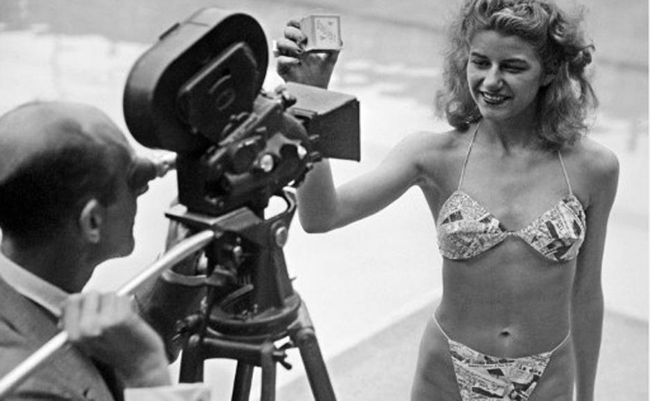 Micheline Bernardini wearing the first bikini