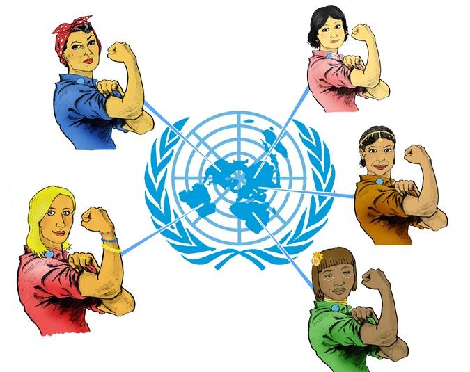 Mujeres en el mundo competencia dibujo animado