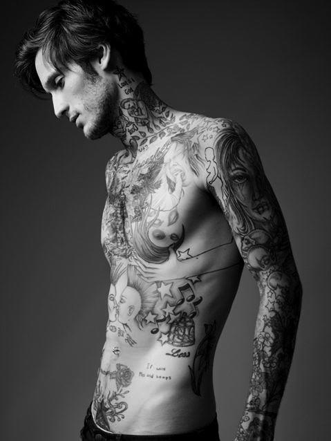 Vintage tattoos man black and white