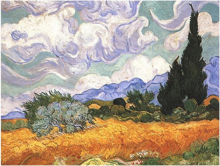 Campo de trigo con cipreses