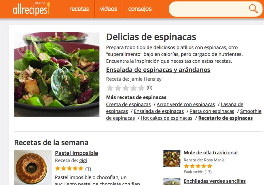 p ginas en internet para preparar deliciosas recetas comida