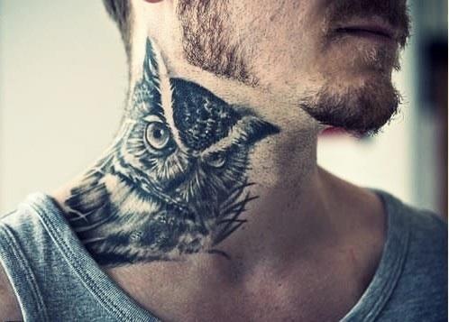 Owl-Animal-Tattoo-On-Neck