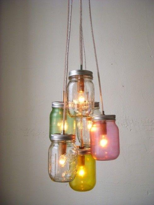 Ideas para hacer l mparas originales con materiales - Tarros de cristal con tapa ...