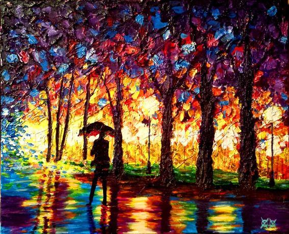 stroll in rain