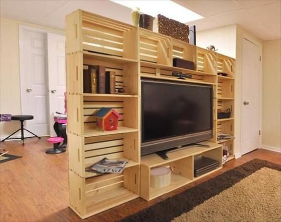 25 usos que le puedes dar a un huacal dise o - Mueble rustico para tv ...