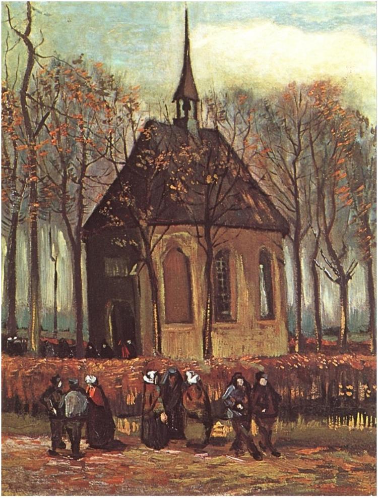 Congregacion saliendo de la iglesia reformada en Nuenen