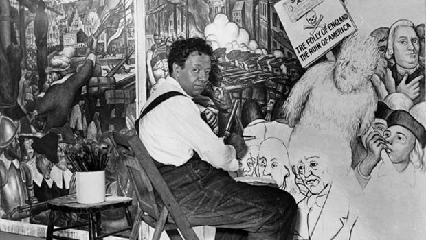 Diego Rivera. pintando