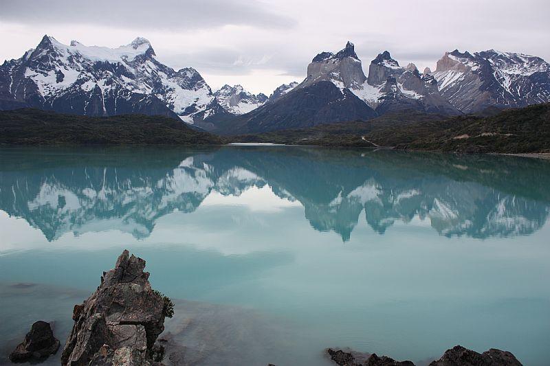 El lago Pehoé, Chile