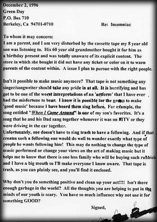 Carta a Green Day
