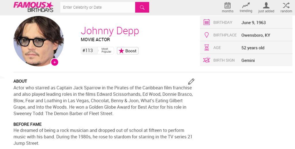 johnny depp famosos que nacieron