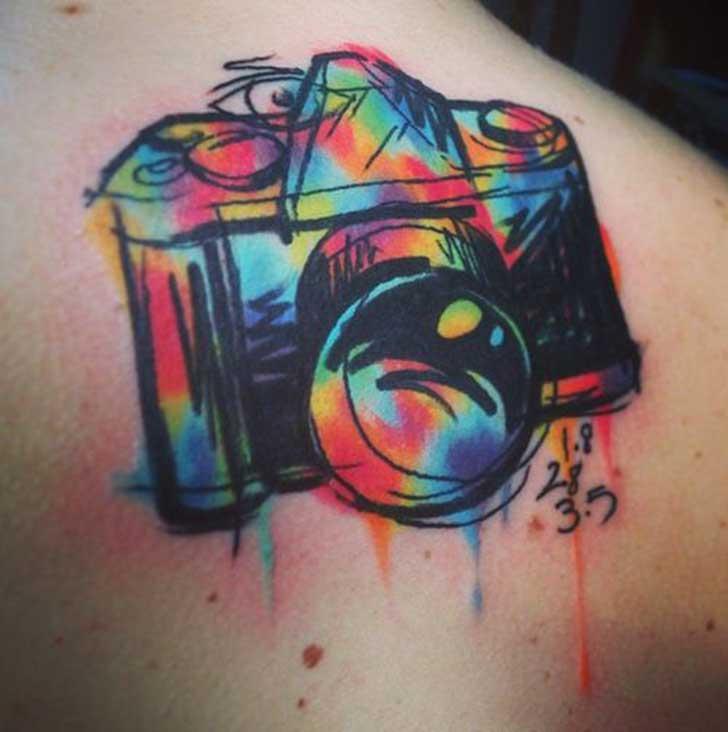 tatuajes de fotografia camara colores