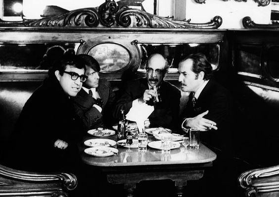 Carlos Monsiváis, José Luis Cuevas, Fernando Benitez y Carlos Fuentes