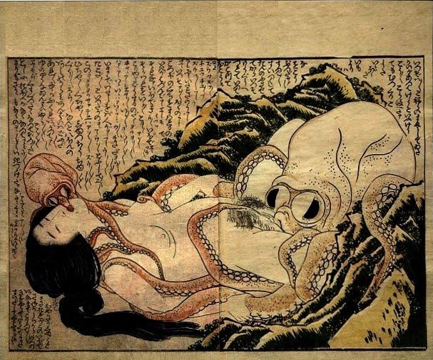 Hokusai-El sueño de la esposa del pescador