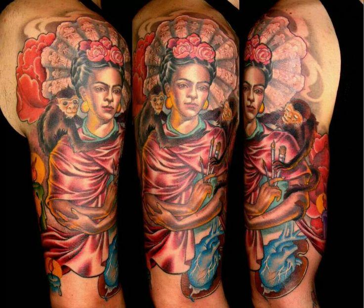Tatuajes Frida Kahlo brazo color