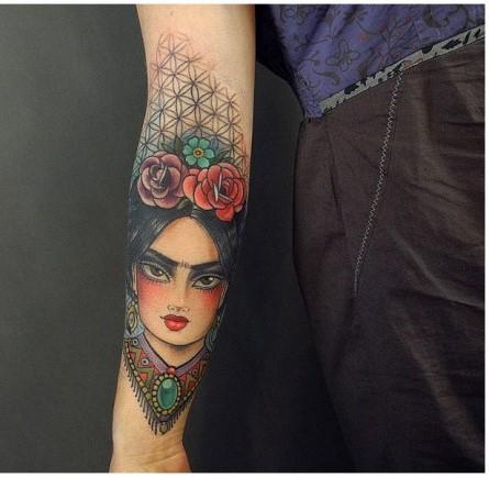 Tatuajes Frida Kahlo color