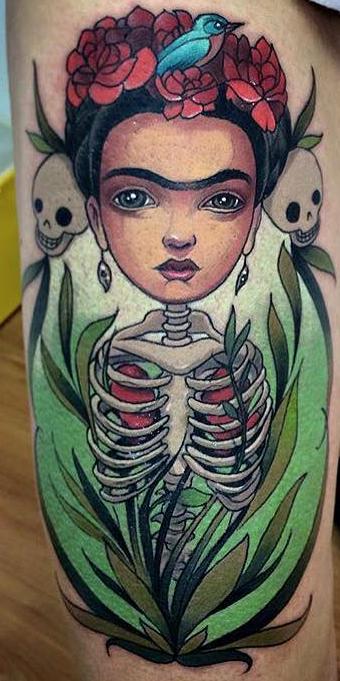 Tatuajes Frida Kahlo pierna