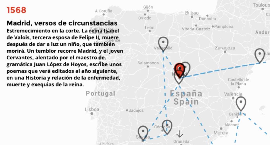 Este mapa interactivo muestra toda la vida de Cervantes a 400 años de su muerte