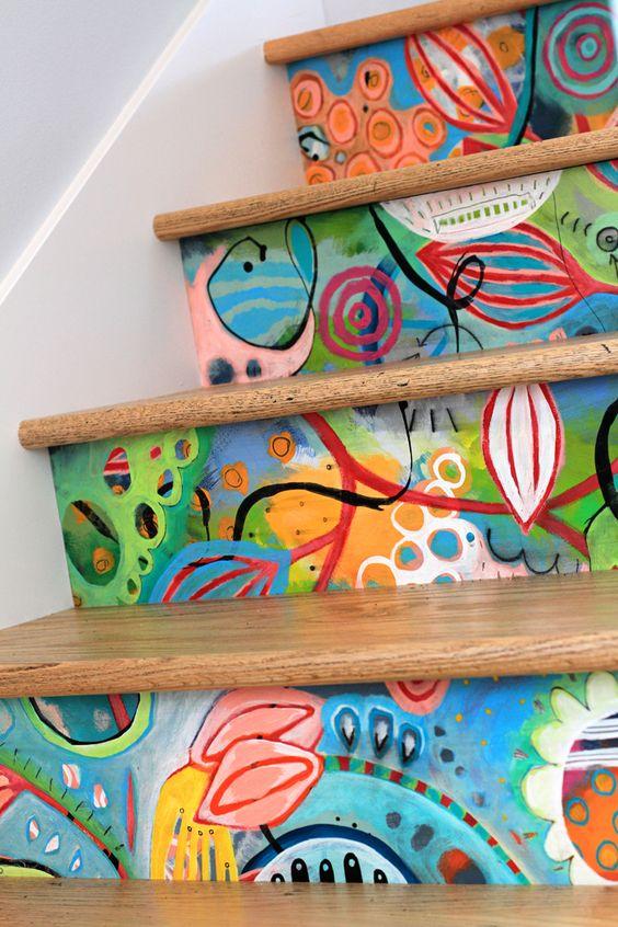 escaleras coloridas decorar escaleras
