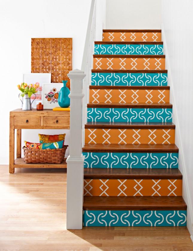 escaleras naranja decorar escaleras
