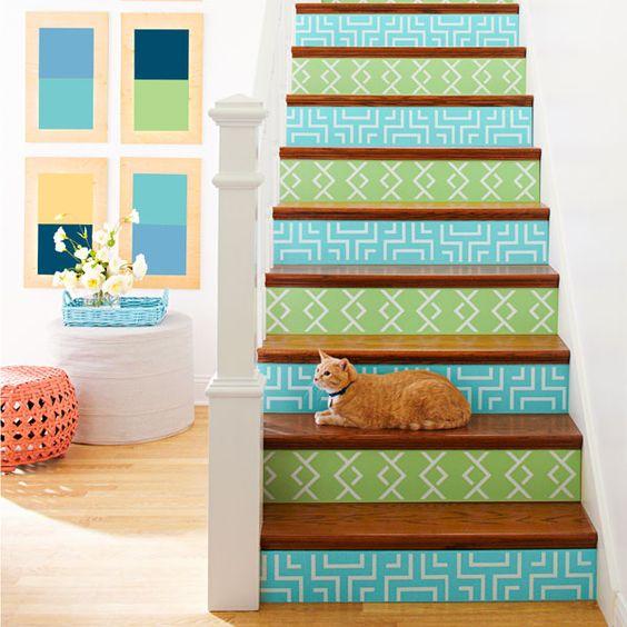 escaleras turquesa decorar escaleras