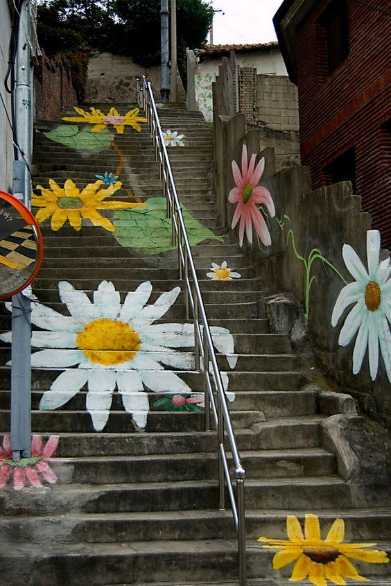 exterior flores decorar escaleras