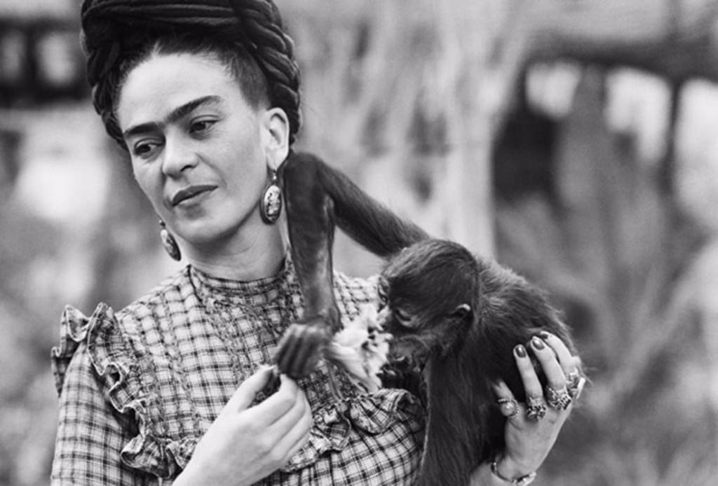 Frida Kahlo Holding Her Pet Monkey