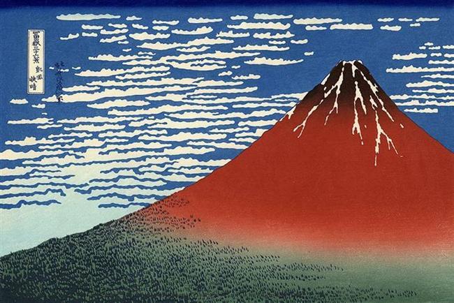 hokusai-El monte Fuji rojo