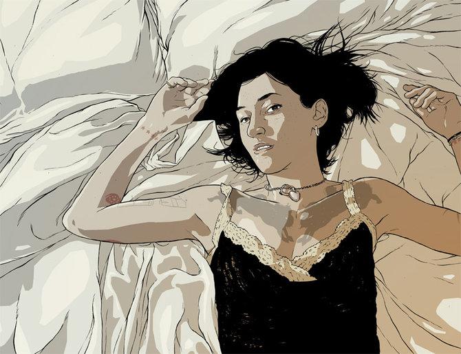 mujer cama