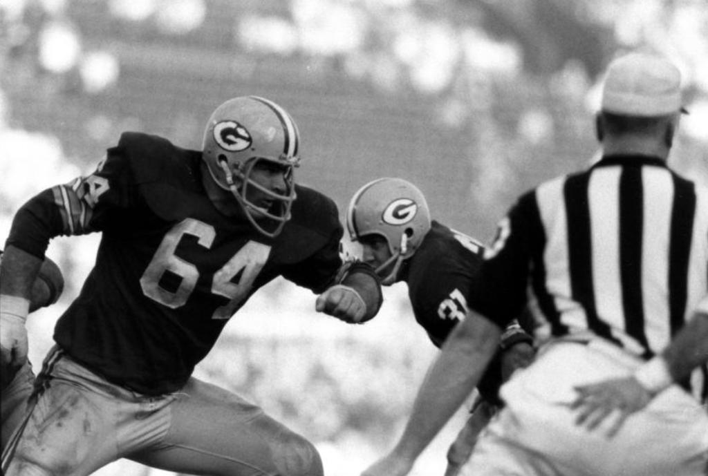 Jerry Kramer, jugador de Green Bay, una tremenda ofensiva de linea que lamentable - y sorprendentemente- jamás fue incluido en el Salón de la Fama, 1967.