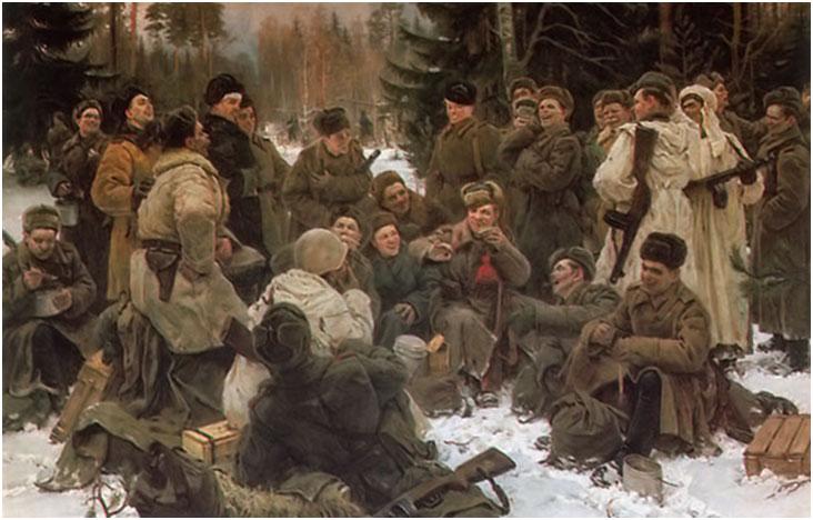 Realismo socialista soldados Neprintsev