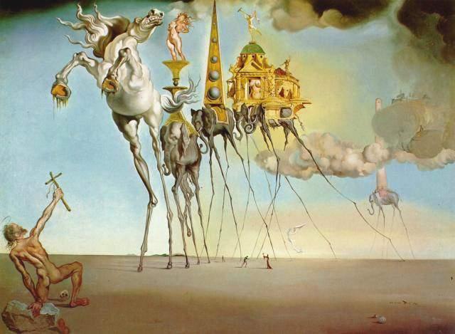Cuadros de Dalí -  La tentación de san Antonio