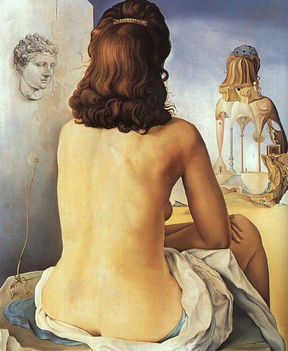 Mi Mujer Desnuda Mirando su Propio Cuerpo Transformarse en Escalones, Tres Vértebras de una Columna, Cielo y Arquitectura