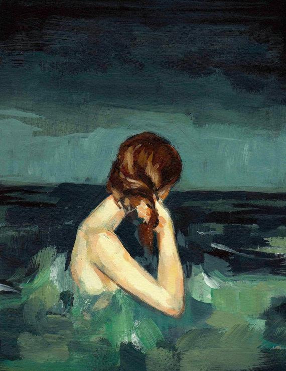 Mujer dentro del mar / mujer tímida