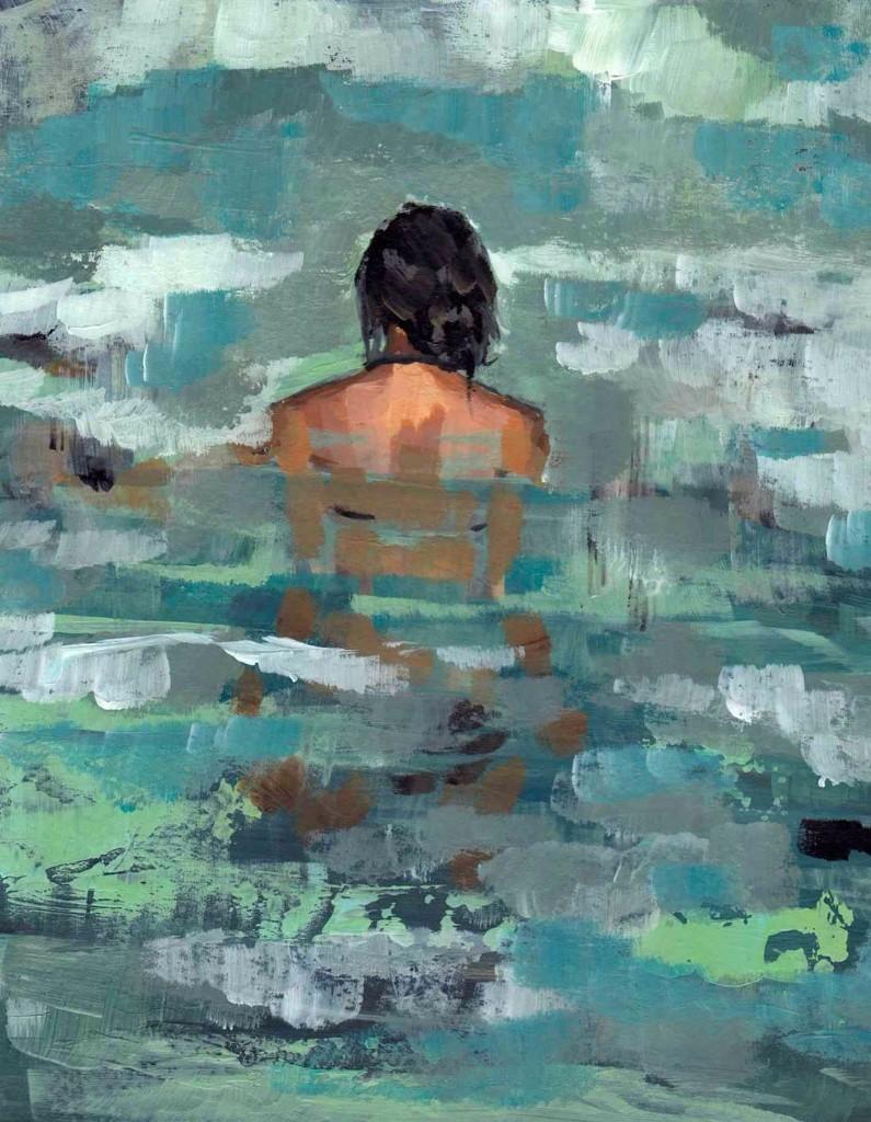 Mujer en río   / mujer tímida