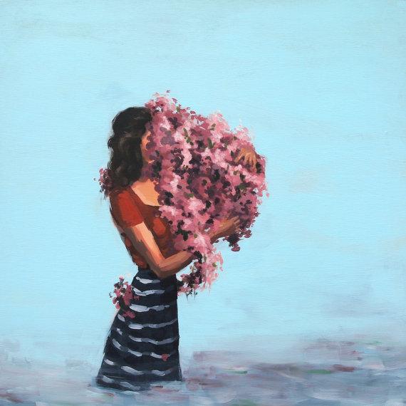 Cubierta por flores  / mujer tímida