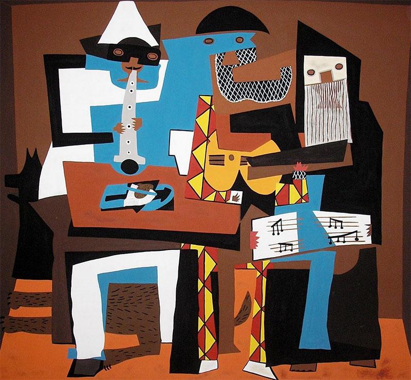 cuadros de Picasso musicos con mascara