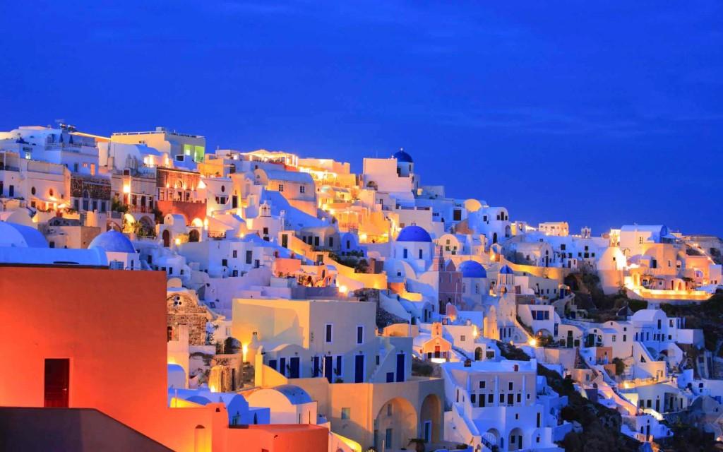 destinos europeos santorini noche