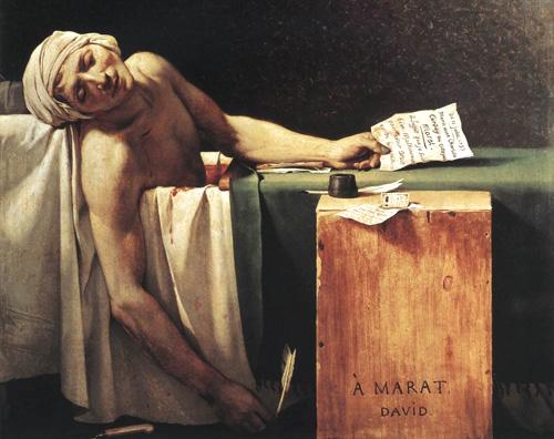 la muerte de marat trabajos de arte