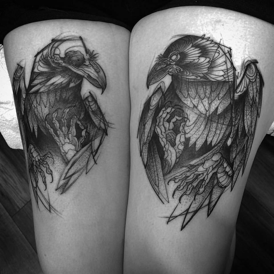 sketch tattos cuervos