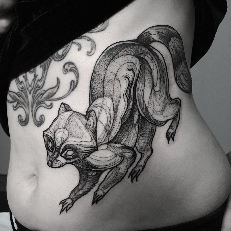 sketch tattos mapache