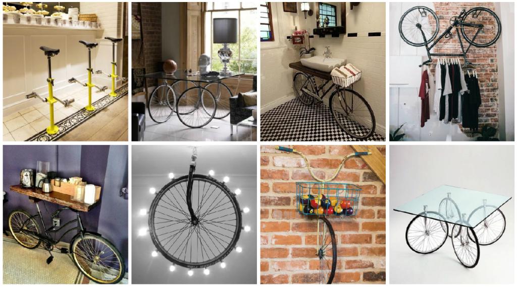 utiliza una bicicleta inservible o partes de ella para crear nuevos muebles y objetos para tu hogar