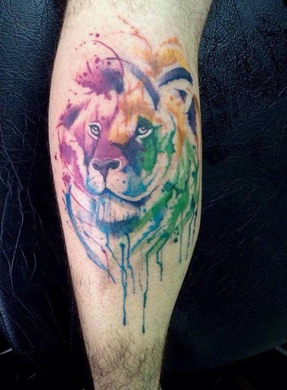 tatuajes de acuarela leon