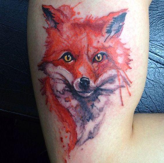 tatuajes de acuarela zorro