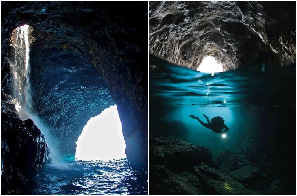 viaje por el mundo gruta agua azul en capri