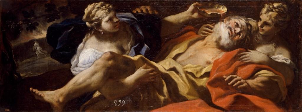 Pintura erótica Lot embriagado por sus hijas, Luca Giordano